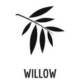 willow leaf icon simple black style vector image