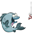 fish and worm vector image vector image