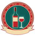Red wine bottle label symbol background vector image vector image
