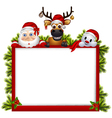 santa claus deer and snowman with blank sign vector image