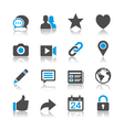 Social network icons reflection vector image