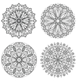 Four round ornaments - spring flower Mandala set vector image