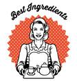 retro woman with a set of tea vector image vector image