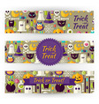 Halloween Holiday Template Banners Set in Modern vector image