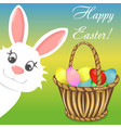happy easter bunny basket banner vector image