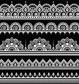 Mehndi Indian Henna tattoo seamless white pattern vector image