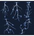 Realistic lightnings set on plaid vector image