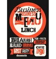 Restaurant business menu typographic design vector image
