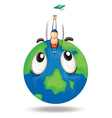 a diving on earth globe vector image vector image
