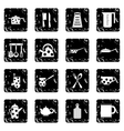 Kitchen tools and utensils set icons grunge style vector image