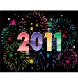 2011 numbers and fireworks vector image