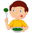 Cute little boy eats vegetable using fork vector image