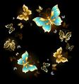 Round Dance of Golden Butterflies vector image vector image