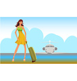 Travel girl background vector image