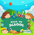 Back to school theme with children vector image