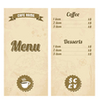 Cafe menu design with treasure map vector image vector image