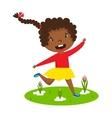 Afro girl running vector image