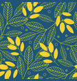autumn seamless pattern of yellow leaves on a blue vector image