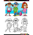 children pupil characters coloring book vector image