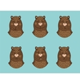Funny bear emotion icon set vector image