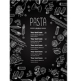 hand drawn blackboard pasta menu vector image