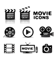 Movie black glossy icon set vector image