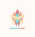rooster totem abstract sign emblem or logo vector image