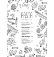hand drawn pasta menu Vintage line art vector image