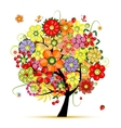 Art floral tree Flowers made from fruits vector image