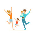 happy family with two kids having fun colorful vector image
