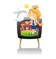 Little girl in school uniform vector image vector image