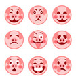 a set of smiley emoticons merry pig vector image