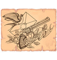 contour image of revolver swallow letter ribbon vector image