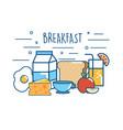 delicious breakfast food nutrition protein vector image