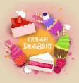 fresh desserts set banner colorful cake sweet vector image