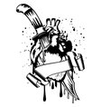 heart punched by knife vector image