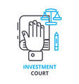 Investment court concept outline icon linear vector image