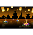 Loy Krathong greeting card with floating lanterns vector image