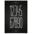Retro numeric set on black chalkboard vector image