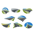 Roads and speed highways icons vector image