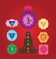 yoga set with charkas and lotus vector image