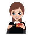 Young woman advertizes a credit card vector image