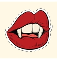 Sexy Halloween vampire mouth female label sticker vector image