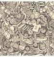 Cartoon cute doodles hand drawn Sport seamless vector image