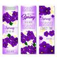 spring flower welcome banner set design vector image