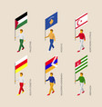 isometric people with flags vector image