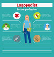 future profession logopedist infographic vector image
