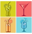 Four cocktails on color vector image vector image