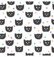 Cute seamless pattern with black cats vector image