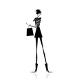 Fashion girl silhouette with shopping bag vector image